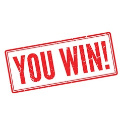 You win red rubber stamp on white vector image vector image
