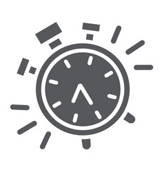 Alarm clock glyph icon time and clock watch sign vector