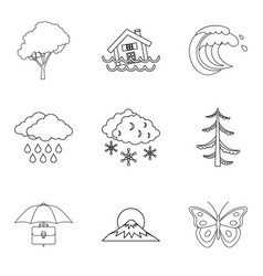 Atmospheric condition icons set outline style vector