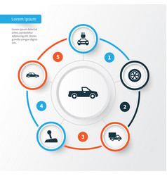 Auto icons set collection of lorry stick vector