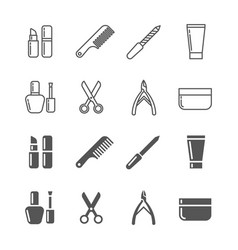 Beauty and cosmetics icons - line and silhouette vector