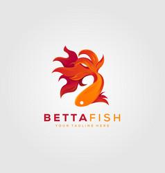 Betta fish fire modern logo design vector