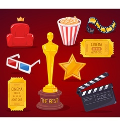 big cinema objects collection on red back vector image