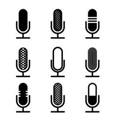 black microphones set vector image