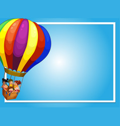 Border template with children on balloon vector