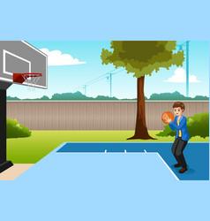 Boy playing basketball in backyard vector
