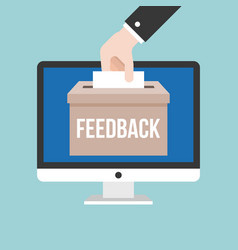 business hand giving feedback in box vector image