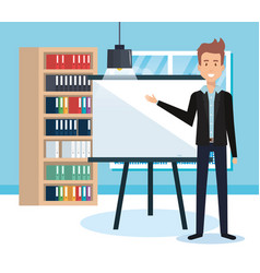 Businessman training avatar character vector