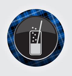 Button with blue black tartan - carbonated drink vector