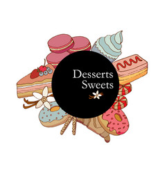 cakes and dessert vector image