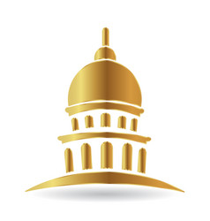 Capitol gold building icon vector