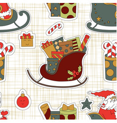 cartoon set of christmas stickers gifts in a vector image