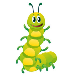 Caterpillar with happy face vector
