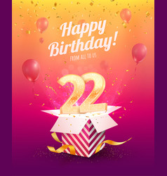 Celebrating 22 th years birthday vector