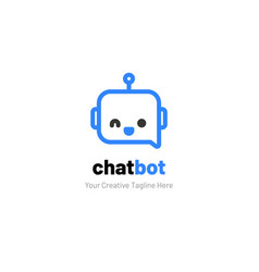 Chat logo with robot face vector