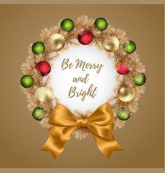 christmas and new year wreath vector image