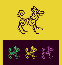 colored dog outline silhouette in ethnic style vector image