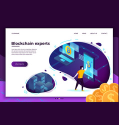 Concept blockchain process investments vector