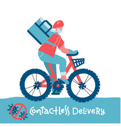 contactless food delivery rider icon no-contact vector image