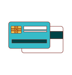 credit card both sides in colorful silhouette vector image