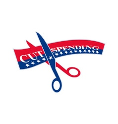Cut spending scissors cutting bill vector