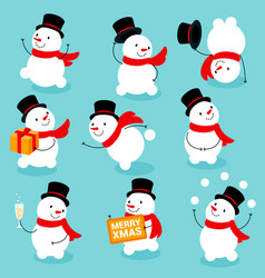 cute and funny snowmen template christmas cards vector image
