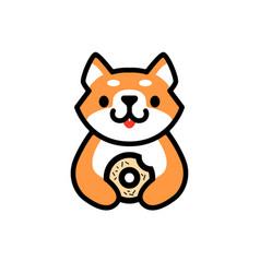 cute shiba inu donuts dog cartoon logo icon vector image
