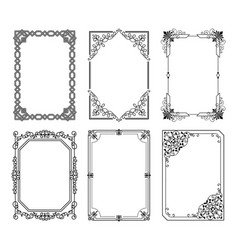 Decorative frames set curved graphic ornament vector