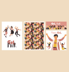 diverse women poster group happy girls set of vector image