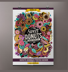 Donuts doodles poster design confectionery sign vector