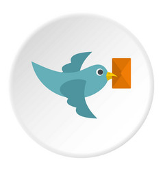 Dove carrying envelope icon circle vector