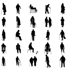 Elderly people silhouette set vector