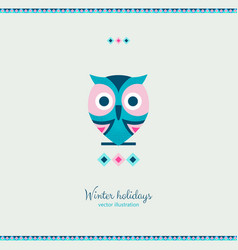 ethnic style winter owl bird with ornate elements vector image
