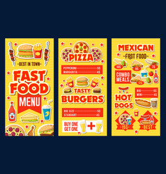 Fast food burgers pizza and hot dogs menu dollar vector