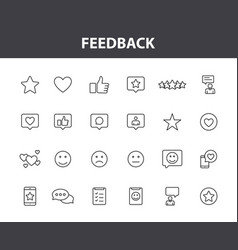 feedback and review web icons in line style star vector image