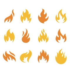 Fire and Flame Symbols and Icons vector