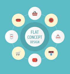 Flat icons purse purchase payment and other vector