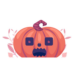 Flat spooky pumpkin with scary face jack o vector