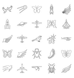 flight on wing icons set outline style vector image