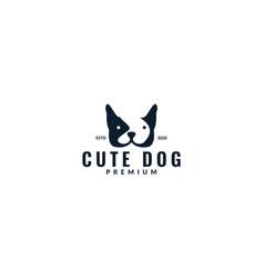 French bulldog head face logo design vector