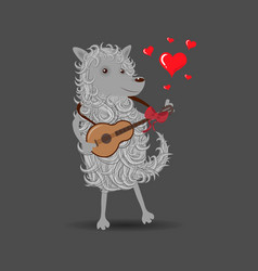 funny white cartoon fluffy dog playing a guitar vector image