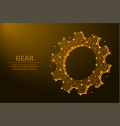 Gear made points and lines mechanical vector