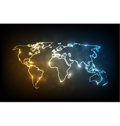 Glowing world map vector