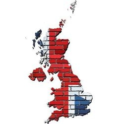 Great Britain map on a brick wall vector