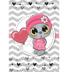 Greeting card cute cat with balloon and bonnet vector