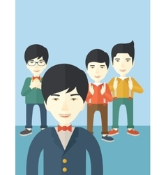 Handsome asian businessmen vector image
