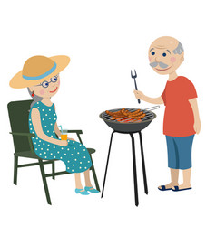 Happy grandparents on a rest vector