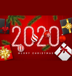 happy new year greeting card candy cane number vector image