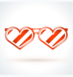 Heart shaped sunglasses st valentines day design vector