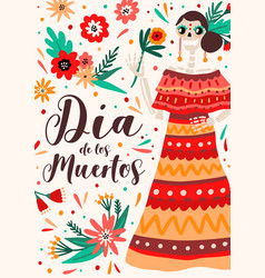 holiday poster with hispanic woman skeleton in vector image